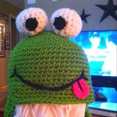 Frog hat, crochet frog hat, frog