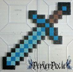 Minecraft - Diamond Sword perler beads by PerlerPixie