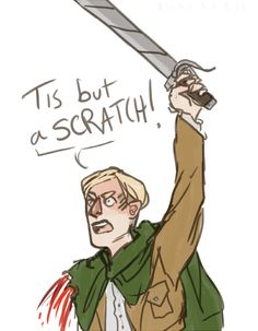 "Attack on Titan-Levi: ""A SCRATCH?! YOUR ARMS OFF!""  Erwin: ""No it is isn't""  Levi: ""Well, what's that then?""  Erwin: "".....I've had worse"" Levi:""YOU LIAR"""