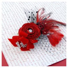 Red and Black Wedding Hair Accessory, Rockabilly Headpiece, Flower Head Piece, Flower and Feather Bridal Fascinator, Burlesque Hair Piece ($55) found on Polyvore