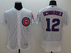 Majestic Chicago Cubs #12 Kyle Schwarber White Stripe Flexbase Collection Jersey