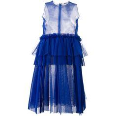 MSGM empire line sheer dress (€255) ❤ liked on Polyvore featuring dresses, blue, msgm dress, transparent dress, msgm, blue sheer dress and see through dress