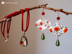 Porcelain Cotton Flowers   handpainted paper earrings and pendant   Paper Leaf