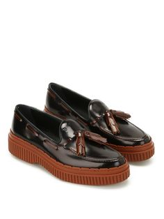 TOD'S | Tod's Two-tone Leather Tassel Loafers #Shoes #Flat Shoes #TOD'S