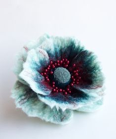 """Felted Flower Brooch, Hair Clip, Wool Felt Jewelry,Pepermint  & Red Flower, """"A little bit different poppy"""" MADE TO ORDER"""
