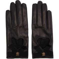 Gucci Black Leather Heart Bow Gloves (750 CAD) ❤ liked on Polyvore featuring accessories, gloves, gucci, leather bow gloves, bow glove, real leather gloves and gucci gloves
