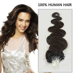 20 Inch 100s Glam Micro Loop Remy Human Hair Extensions Body Wave #2 Darkest Brown