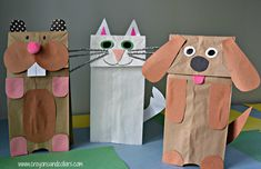 Paper bag puppets are easy to make and lots of fun with little mess to clean up! We made dog, cat and hamster paper bag puppets from items we had around the house.