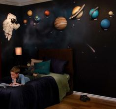 Outer Space Themed Nursery Wall Art Planets, Astronaut - by Beetling Design