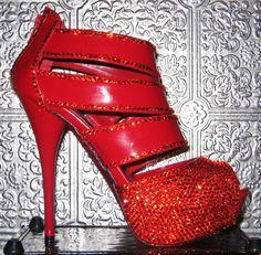 red patent platform heels with swarovski crystal by STEAMHATTER, $200.00