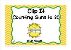 Counting Clip It Suns includes counting suns in ten frames from 0 to 20 and is perfect for math centers, stations, rotations, or early finishers. Students use a clothespin to clip their answer. You may also play the game of Scoot by using the recording sheet or put them around the room and play Write The Room. Other teachers put them in sleeves or laminate and students circle the answer. There are 21 total cards, one of which is 0.