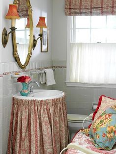 Pedestal sink with skirt. Not really sure why there's a bench in the bathroom.but the sink skirt is perfect. Decor, Room, Vintage Bathrooms, Bathroom Red, Small Bathroom Decor, Home Decor, French Country Bathroom, Small Bath, Sink Skirt