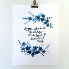 Hand Lettered and Watercolored Indigo Art Print- Franz Kafka Quote Hand Lettered and Watercolored Indigo Art Print- Franz Kafka Quote <br> Watercolor Calligraphy Quotes, Calligraphy Quotes Doodles, Watercolor Hand Lettering, Watercolor Quote, Hand Lettering Quotes, Calligraphy Art, Brush Lettering, Watercolor Cards, Islamic Calligraphy