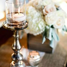 Love this mix of silver and wood #msweddingplanner #southernwedding #meridianmsflorist @admoniphoto
