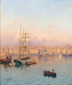 Embarcations face au quartier Saint-Jean, Marseille -  GARIBALDI, Joseph (1863-1941)