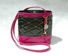 Black & Glitter Vinyl by Glitter Vinyl, Pink Glitter, Handmade Handbags, Luxury Handbags, Perth, Bucket Bag, Fashion Backpack, Purses And Bags, Hot Pink