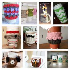 10 free coffee cozy crochet patterns Collage - thesteadyhandblog