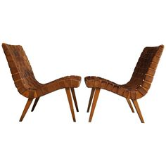 Jens Risom Leather Strapped Lounge Chairs | See more antique and modern Lounge Chairs at https://www.1stdibs.com/furniture/seating/lounge-chairs