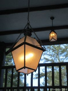 Pendant lights at the Bucklin Memorial Building at Camp #Yawgoog.  Image by David R. Brierley.