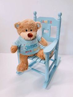 Personalized Rocking Chair with large Teddy bear delivery across Ireland. Teddy Bear Delivery, Large Teddy Bear, Rag Dolls, Rocking Chair, Toys, Animals, Decor, Fabric Dolls, Chair Swing