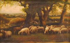 Attributed to Hugh Bolton Jones (American, 1848-1927) Sheep in a Pasture.