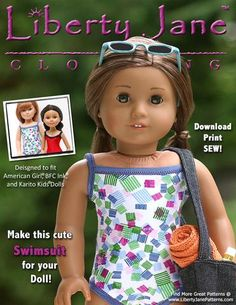 FREE Swimsuit 18 inch Doll Clothes Pattern PDF Download | Pixie Faire