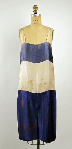 Blue and white slip   Antique   stripes   Soeurs silk evening dress c. 1926