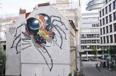 """Nychos is a street artist from Austria who creates spectacular, detailed artworks. He """"grew up in a little village near Graz (Styria, South of Austria). He calls it the green hell. Born into an Austrian hunter's family, he saw, at a very young age, things which normal people would consider as cruel and brutal."""