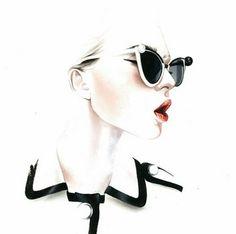 ANTONIO SOARES sketch of Mercura Sunglasses sketched 2013 with Chanel Suit