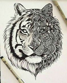 zentangle tiger by Kibah8 ... More