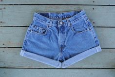Perfect pair of LEVI cuffed denim high waisted shorts! https://www.etsy.com/listing/242370075/cuffed-levi-high-waisted-shorts-size-45