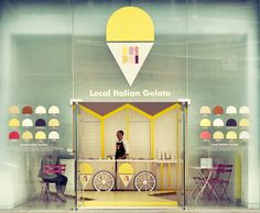 Pop-up ice cream stall at the Front Room of St Martins Lane Hotel in London. The temporary italian gelato shop is designed by architects Elips Design and serves gelato from the UK company Dri Dri from a timber cart on wheels.
