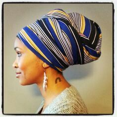 Headwrap with dreadlocks underneath