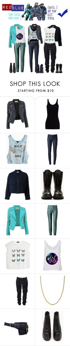"""""""rvb Blue team"""" by femme-mecha ❤ liked on Polyvore featuring T By Alexander Wang, Emporio Armani Jeans, mark., Sonia by Sonia Rykiel, Rick Owens, Chalayan, MANGO, Tiffany & Co., Jeffrey Campbell and rag & bone"""