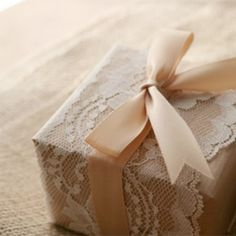 brown packing paper + lace + ribbon.