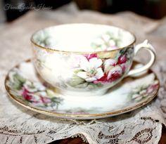 Antique French Haviland Limoges Pink Roses Porcelain Teacup. FrenchGardenHouse.com