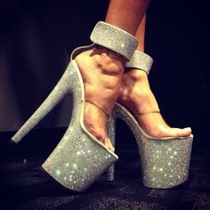 Get these shoes on @Wheretoget or see more #shoes #white,_rhinestone,_high_heels_,_stripper_heels #glitter