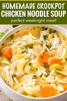 Homemade Crockpot Chicken Noodle Soup - The Chunky Chef Guaranteed to warm you from the inside out, this homemade chicken noodle soup is made in the crockpot for an ultra-easy home-cooked meal that will feed your soul! Slow Cooker Huhn, Slow Cooker Soup, Slow Cooker Chicken, Best Chicken Noodle Soup, Homemade Chicken Soup, Noodle Soups, Home Made Chicken Noodle Soup Recipe, Noodle Recipes, Creamy Chicken