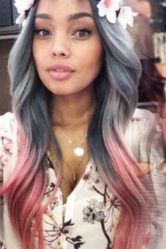 Gray ombre with pastel pink tips.....#pretty