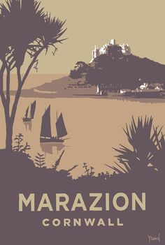 holiday poster Marazion Print at Whistlefish - handpicked contemporary amp; traditional art that is high quality amp; Available online amp; in store