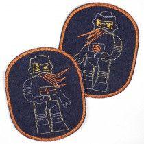 Flickli Set retro XL Roboter auf Jeans blau orangener Rand