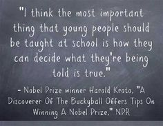 It's Nobel Prize-winning time, and NPR has just published A Discoverer Of The Buckyball Offers Tips On Winning A Nobel Prize. It's a good piece, with a great quote that's ideal for IB Theory of Kno...