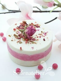 Another soap cake inspiration - with pink and white layers and rosebuds on top