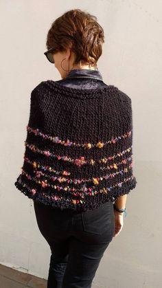 Black poncho sweater, black knit poncho cape for women , knit capelet, Free Knit Poncho Pattern, Poncho Knitting Patterns, Knit Patterns, Knitted Capelet, Poncho Sweater, Knitted Poncho, Poncho Lana, Black Poncho, Black Knit