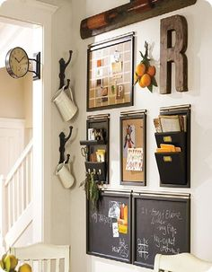 "Something similar for a ""command station"" aka mail/key/calendar area in the apartment. Mix art with various organization elements on a wall. Kitchen wall or over the desk. Add a K, B, K for all of us :)"