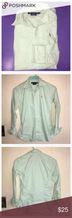 Size 0 Women's Green Ralph Lauren Ladies Size 0 Green and White Pinstriped Ralph Lauren Polo Oxford Shirt. All Buttons in Tact, No Stains or Tears. Excellent Condition. According to Lauren by Ralph Lauren Size Chart Ladies Size 0 is Equivalent to girls size 10/12 Ralph Lauren Tops Button Down Shirts