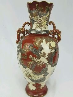 Vtg Marked 1920s Era Satsuma Moriage Japanese Porcelain Vase Copper Red