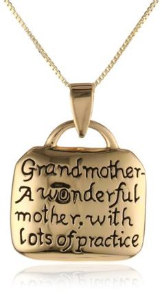 Sterling Silver Grandmother A Wonderful Mother with Lots of Practice Square Pendant Necklace, 18 $29.00 (36% OFF) + Free Shipping