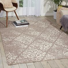 Damask Rugs DAS01 in Ivory and Grey by Nourison - Free UK Delivery - The Rug Seller