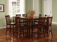 9pcs Contemporary Walnut Counter Height Dining Table & 8 Stools Set $691.32